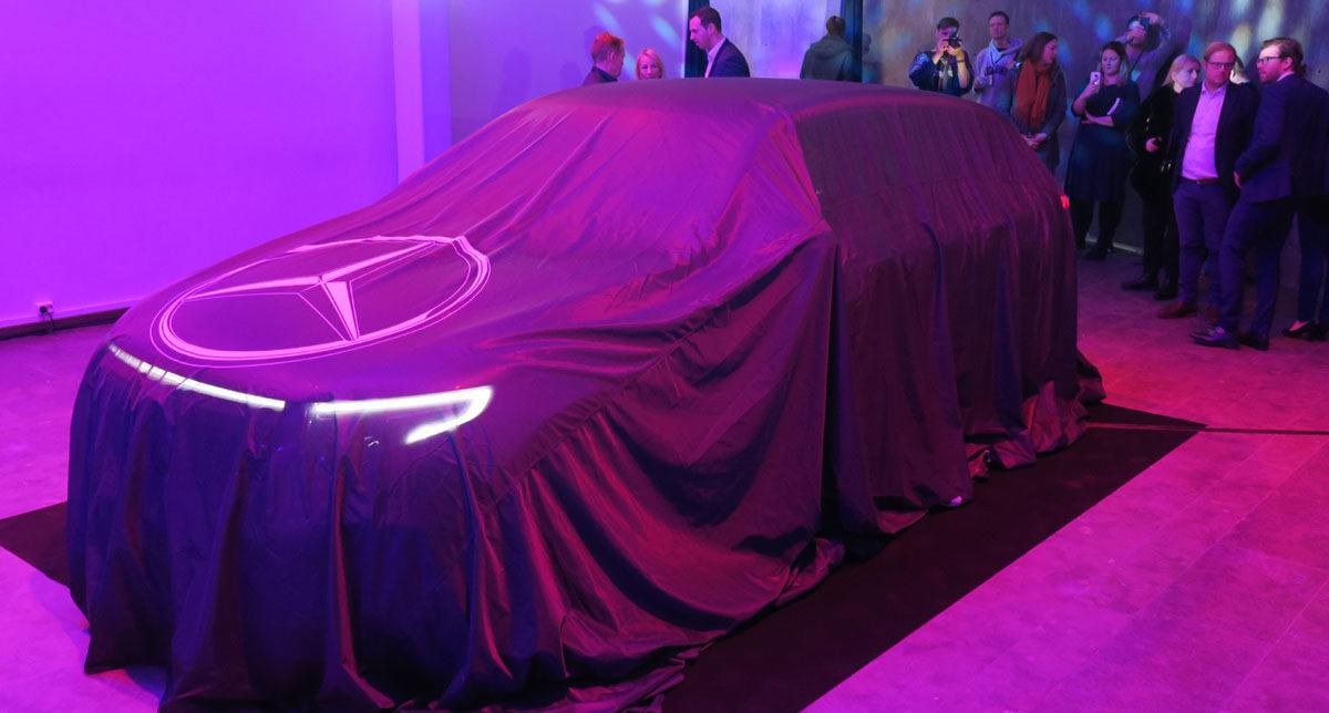Mercedes-Benz EQC før avdukingen under en presselansering i Oslo tidligere i år. Foto: ©Morten Larsen
